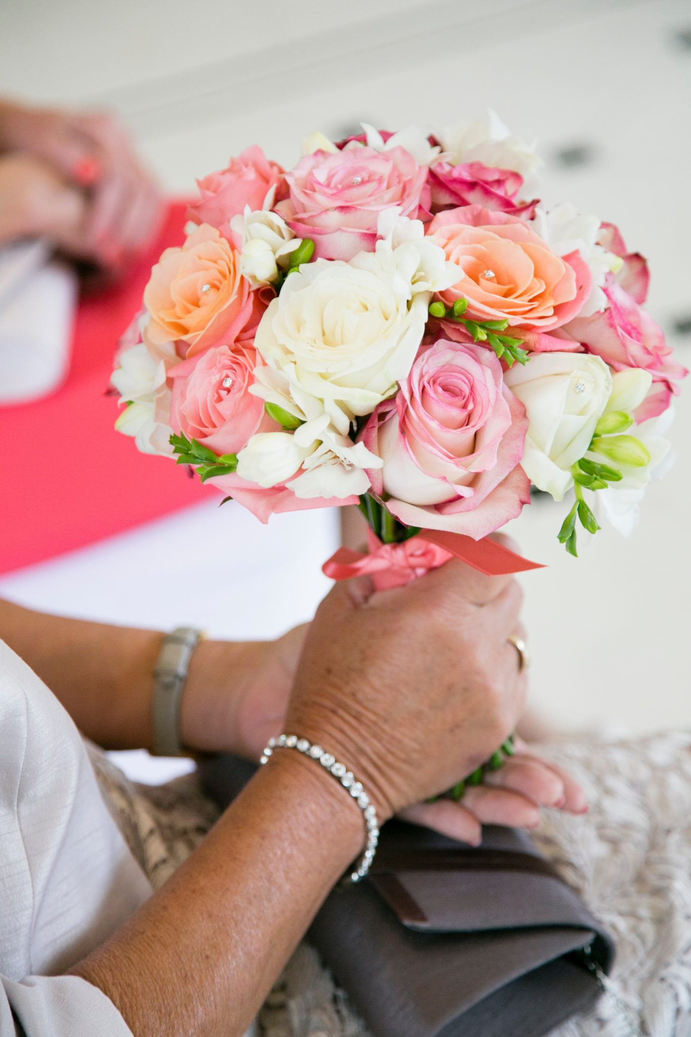 Coral, pink and paloma rose bouquet from £55