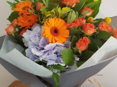 orange & blue handtied £30